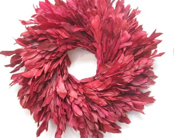 Large Fire Red Ruscus preserved floral wreath