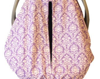 Unique Fitted Carseat canopy Lavender Petite Damask with lavender Dimple Dot Minky.