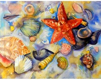 Sea Shells Watercolor Painting, Seashells, Coastal Decor, Original Painting, Gift of the Sea