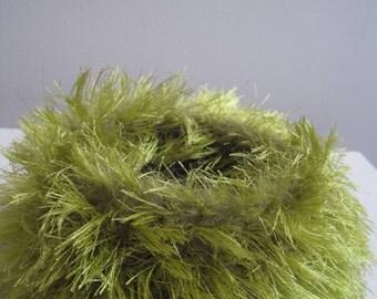 "chartreuse felted bowl, green felted bowl, medium crocheted ""nest"" chartreuse fuzzy bowl, green felt basket ""unfurled"""