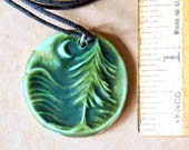 Handmade Ceramic Forest  Pendant - Rustic Moss Green Moon over Cedars
