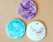 3 Handmade Stoneware Beads - Bird Beads in Neutral, aqua, and spring lavender