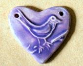 Sweet Ceramic Bead - Bird in a Handmade Heart Pendant Bead - Lavender Bird Bead