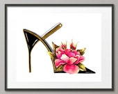 Fine Art Print Flower Shoes Stiletto Pumps Footwear Fashion Colorful Watercolor Painting Abstract Modern Contemporary Elena