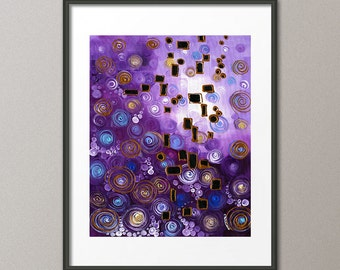 Gallery Canvas and Fine Art Prints Blue Purple Geometric Circles Squares Abstract Modern Contemporary Interior Design Home Decor Gifts Elena