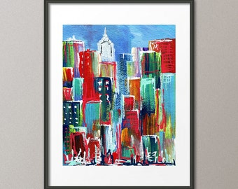 Colorful Art Print Cityscape Skyline Architecture Buildings Street Modern Abstract Contemporary Elena