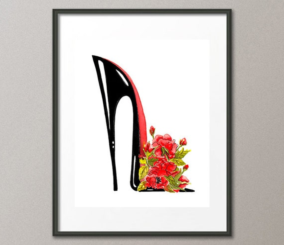 Fine Art Print Red Roses Flower Shoes Stiletto Fashion Colorful Watercolor Abstract Modern Contemporary Elena