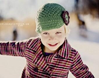 "Newsboy Hat Crocheted The Flynn""  Sage Chocolate Brimmed hat Visor Beanie Flower Fall Winter"