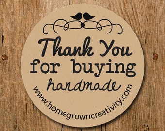 Customized Thank You For Buying Handmade Stickers - Typewriter Text - Labels - Wedding - Birthday Party - Thank You Stickers