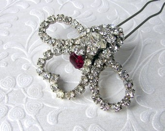 Heart Wedding Hair Comb Rhinestone Jeweled Hairpiece Red Bridal Hairpin Vintage Jewelry Headpiece Bohemian Boho Chic Valentines Gatsby Bride