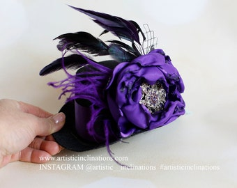 Royal Highness -  Mini Top Hat, Black and Purple with Gorgeous Rhinestone - Flower is Handmade