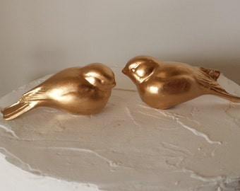 Gold Wedding Cake Topper Love Birds Small Tiny Birds Vintage Ceramic Home Decor Wedding Bird Home Decor