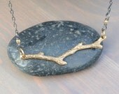 Bronze Branch on Sterling Silver Chain Necklace