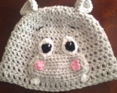 Hippo Crochet Beanie Skullcap Hat -all sizes newborn through adult