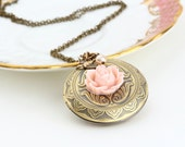 Large Locket Necklace, Antique Brass, Etched Locket, Pink Flower, Vintage Style, Bridesmaids Gifts, Romantic Gift, Shabby Chic