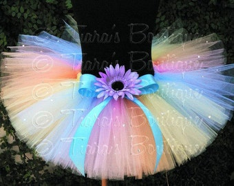 Girls Birthday Tutu Set, Pastel Rainbow Tutu Skirt, Spring Delight, Custom SEWN Tutu and Flower Headband Set