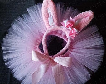 Pink Easter Tutu Set, Easter Bunny Ears w/ Hair Bow & Light Pink Sewn Tutu - READY TO SHIP