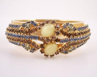 Vintage Rhinestone Hinged Bangle Bracelet