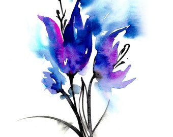 Blue Blooms ... Floral art archival print from original painting by Kathy Morton Stanion EBSQ