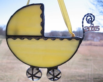 Baby's First Christmas Ornament, Yellow Baby Carriage Ornament,  Tiffany Style Stained Glass Baby Carriage