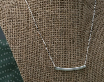 Dainty Silver Color Tube Necklace