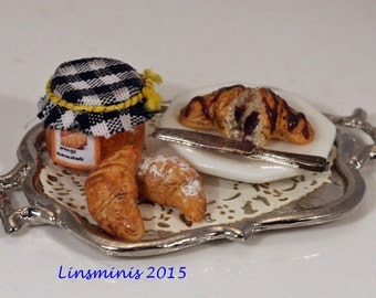 12th scale handmade dollhouse miniature marmalade & croissant tray