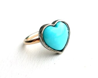 Handmade Turquoise Heart Ring in Sterling Silver on Gold Fill Band