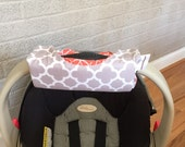 Cute NEW DESIGN Grey Quatrefoil and Coral Tile REVERSIBLE Car Seat Handle Arm Pad with Hand Grip