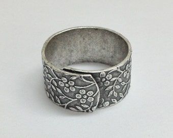 Wide Ring Blanks - 4 Antiqued Silver Ox (oxidized) FLORAL Wide Band Adjustable Ring Blanks