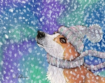 Welsh Corgi dog 8x10 art print - wearing hat and scarf in the snow