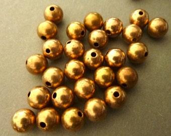 24 Brass Beads Plain Vintage 6mm