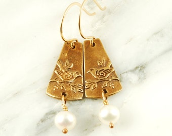 Sparrow Earrings - Bronze Bird Earrings with White Pearls and Gold Fill Wires