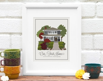 Custom Home Illustration, First Home, Mom Gift, Family Gift, Client Gift, Childhood Home Art Print, My Home, Moving gift