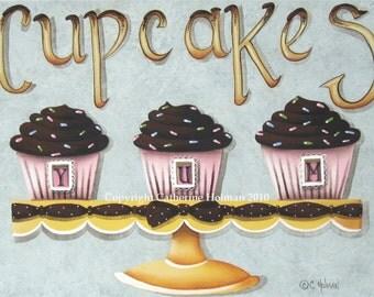 Cupcake Art Print Cupcake Yum