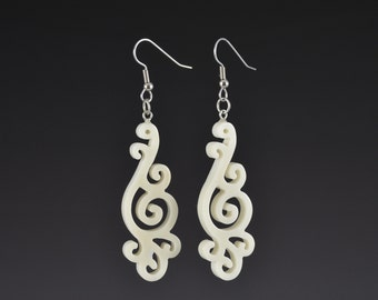 White Koru Filigree Drop Earrings 2 - Upcycled Corian Handmade Recycled Jewelry by Mark Noll - Gift for Her