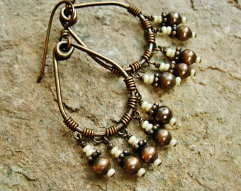 Shaggy Hoops - Antiqued Copper Wire Wrapped Hoop earrings with Cream Pearl Seed Bead dangles