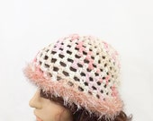 Adorable Super Soft Crocheted Bamboo Cloche Hat/ Cream Pink White Beige Varigated Bamboo Yarn/ Shabby Chic