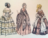 "Antique French Fashion Plates - Thick Paper ""Fashions of the XIX Century"" - for framing or crafting"