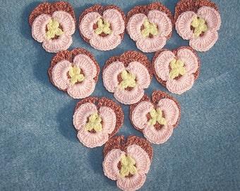 10 handmade cotton thread crochet applique pansies  --  285