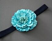 Vivid Aqua Blue Navy Infant Girl Headband