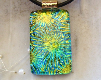 Dichroic Pendant, Necklace, Glass Jewelry, Aqua, Gold, Necklace Included