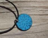Handmade Copper Enamel Flower Petal Necklace, Copper Enamel Circle, Enamel on Copper Flower Star Pattern Necklace, Soft Black on Medium Blue