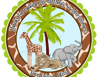 Jungle Safari Animal Stickers,  Zoo animal stickers, Favor lavels, gift stickers, giraffe, Elephant, Lion, Birthday party, Favor, Set of 12