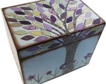 Recipe Box, Decoupaged Wood Box, Decorative Tree Box, Holds 3x5 Cards, Recipe Organizer, Storage Organization, Kitchen Decor, MADE TO ORDER