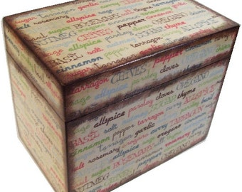 Personalized Wood Recipe Box, Decoupaged, Couples Gift, Gift for Her, Kitchen Spices, Storage Organization, Holds 4x6 Cards, MADE TO ORDER