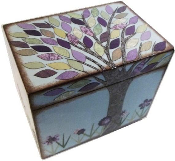 Recipe Box Decoupaged Wood Box Decorative Tree Box Holds