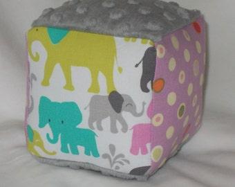 Orchid Elephant Walk Fabric Block Rattle Toy
