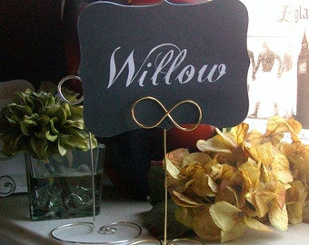 INFINITY Tall Wire Table Number Holder - Heart or Circle Base - You Choose a Color