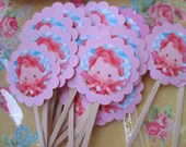 SALE...Strawberry Shortcake...Raspberry Tart...Party Invitations and Matching Cupcake Toppers...Handmade and OOak