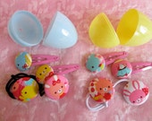 Easter Egg...Hair Clips and Pony Tail Holders.. Accessories...Blue ...OR ...Yellow